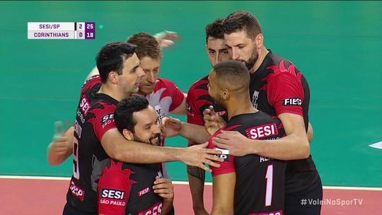 Os pontos finais de Sesi/SP 3 x 0 Corinthians pela Superliga Masculina de Vôlei