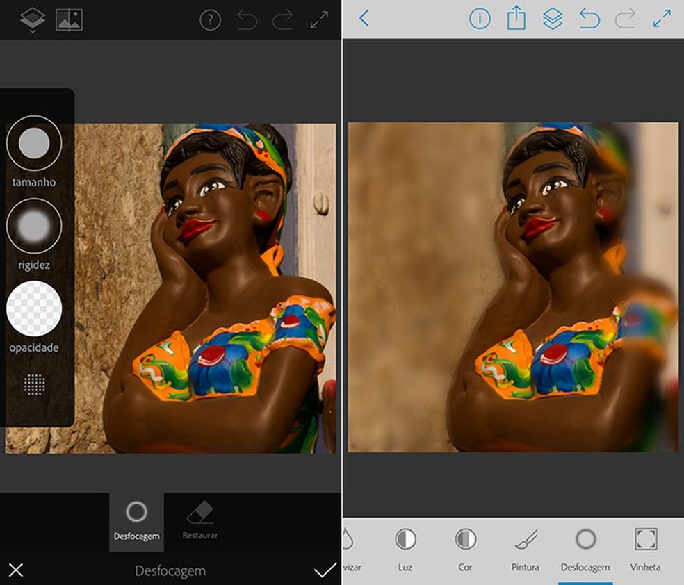 Com uso da ferramenta pincel, é possível desfocar qualquer imagem com facilidade no Photoshop Fix — Foto: Reprodução/Amanda de Almeida