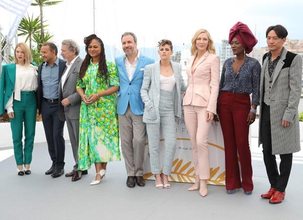 Lea Seydoux, Andrey Zvyagintsev, Ava DuVernay, Denis Villeneuve, Kristen Stewart, Cate Blanchett, Khadja Nin e Chang Chen (Foto: Getty Images)