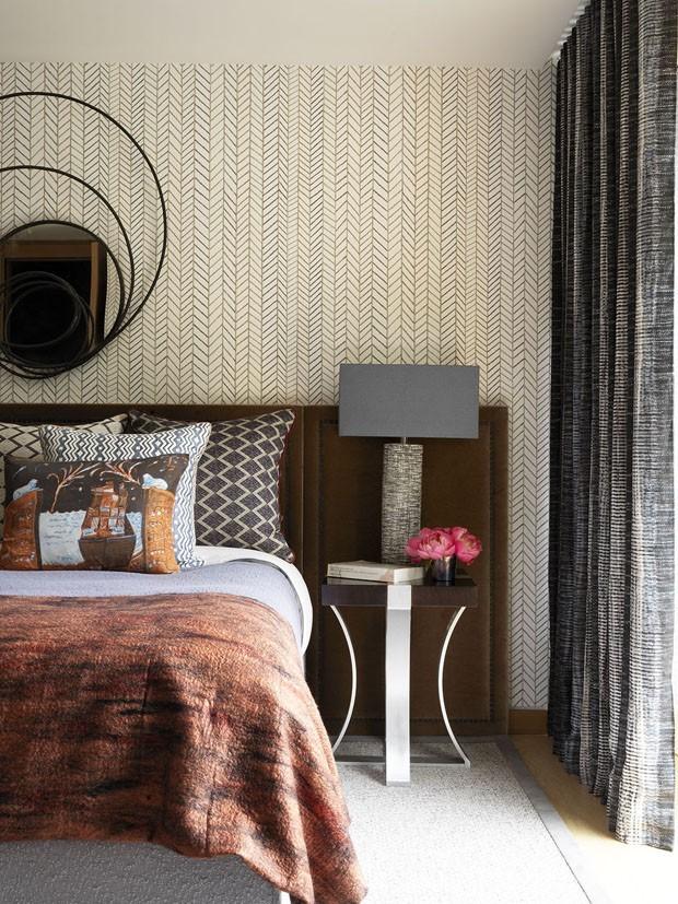 Décor do dia: quarto de casal com mistura de texturas e estampas (Foto: Divulgação)