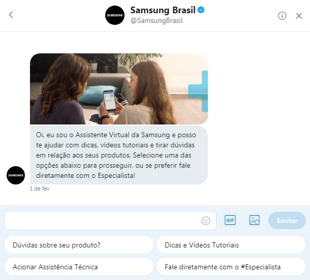 Chatbox do Twitter @SamsungBrasil (Foto: Divulgação / Samsung)