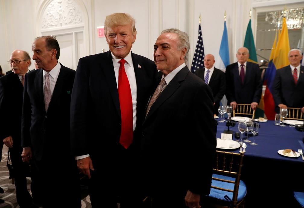 Trump e Temer em jantar em Nova York (Foto: Kevin Lamarque/Reuters)