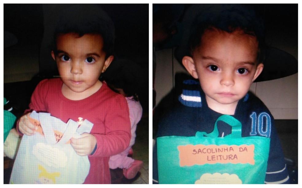Os irmãos gêmeos Manuela e João Pedro, filhos da professora Deise Borchhardt, quando frequentavam o projeto (Foto: Deise Borchhardt/Arquivo pessoal)