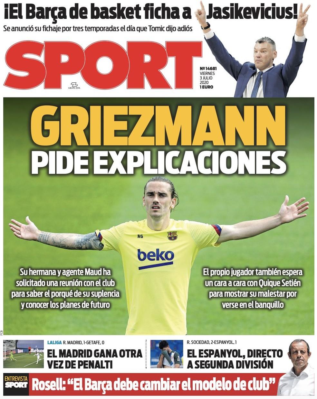 Capa de jornal espanhol destaca situação incômoda de Griezmann no Barcelona — Foto: Reprodução