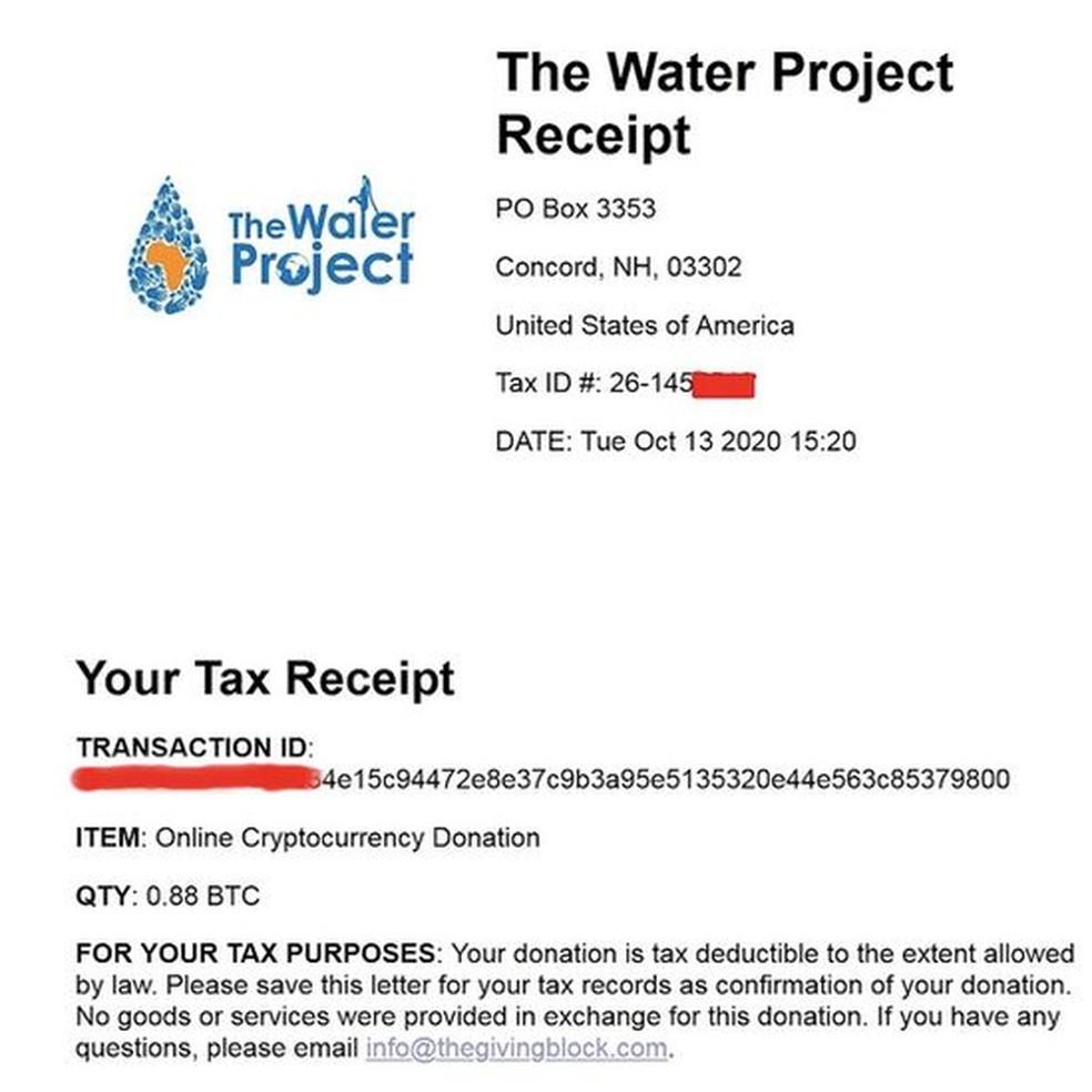 Outro recibo foi postado no blog da dark web mostrando uma doação de US$ 10 mil — Foto: Reprodução via BBC