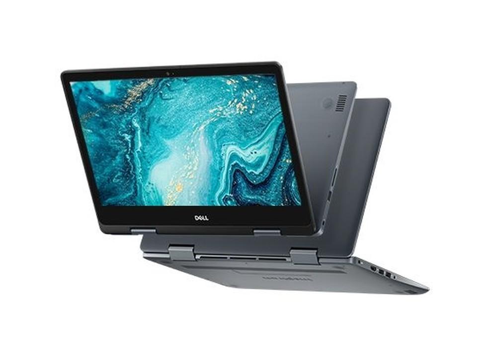 A tela do do notebook vira completamente no modo tablet — Foto: Divulgação/ Dell