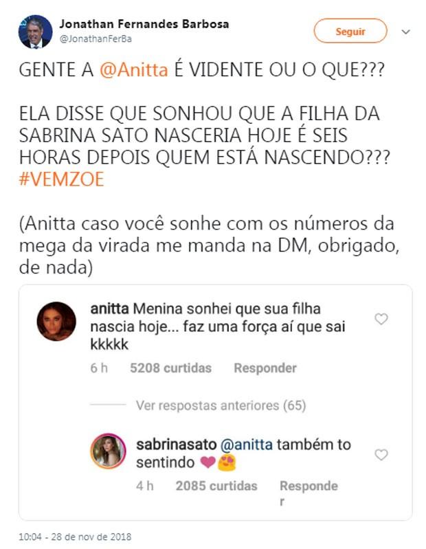 Repercussão do sonho de Anitta (Foto: Reprodução)