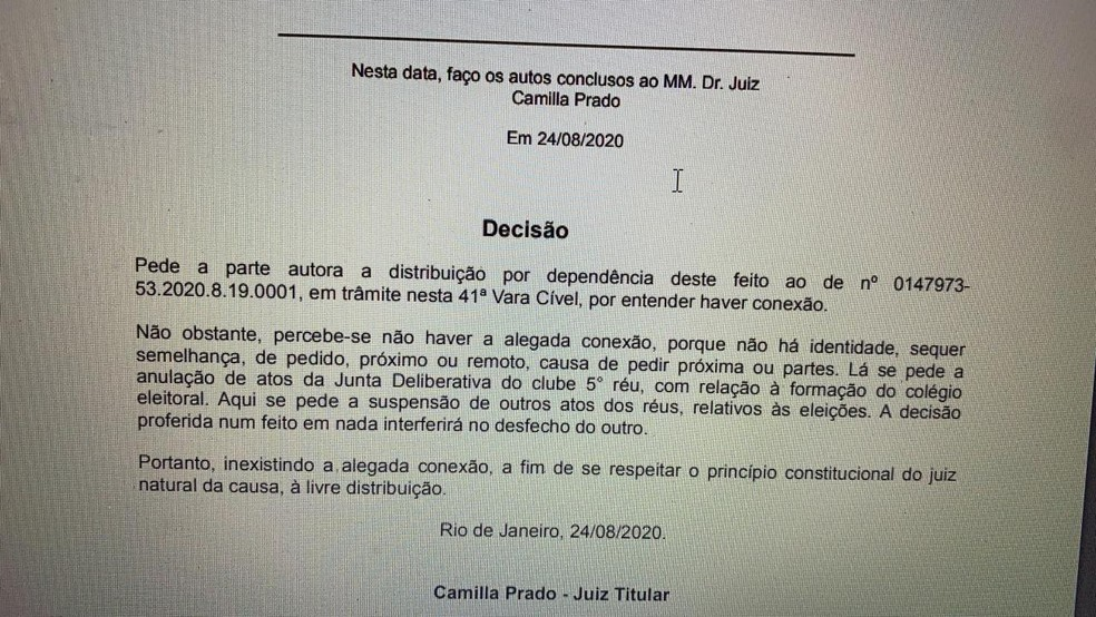 Decisão judicial não atendeu pedido de Mussa — Foto: Reprodução