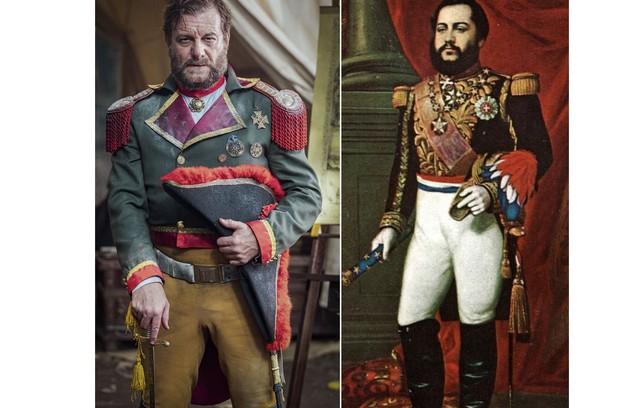 Roberto Birindelli será o General Solano López. As rixas dele com Dom Pedro II acabam levando à Guerra do Paraguai, que será mostrada na trama (Foto: Globo e reprodução)