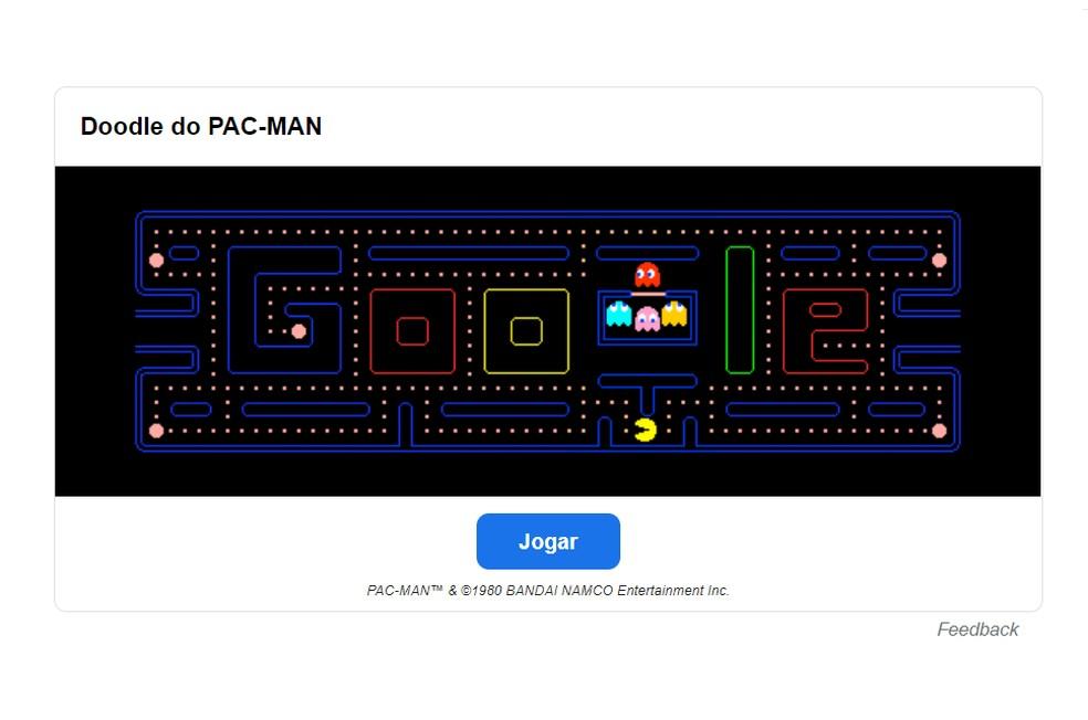 Jogue Pac-Man sem sair do Google — Foto: Reprodução/Google