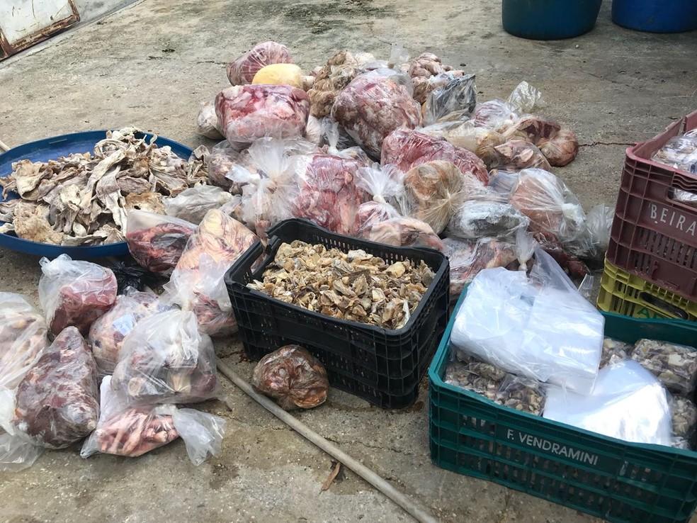 Carne com data de validade vencida também foi encontrada dentro da fábrica, em Manaus (Foto: Divulgação/Polícia Civil)