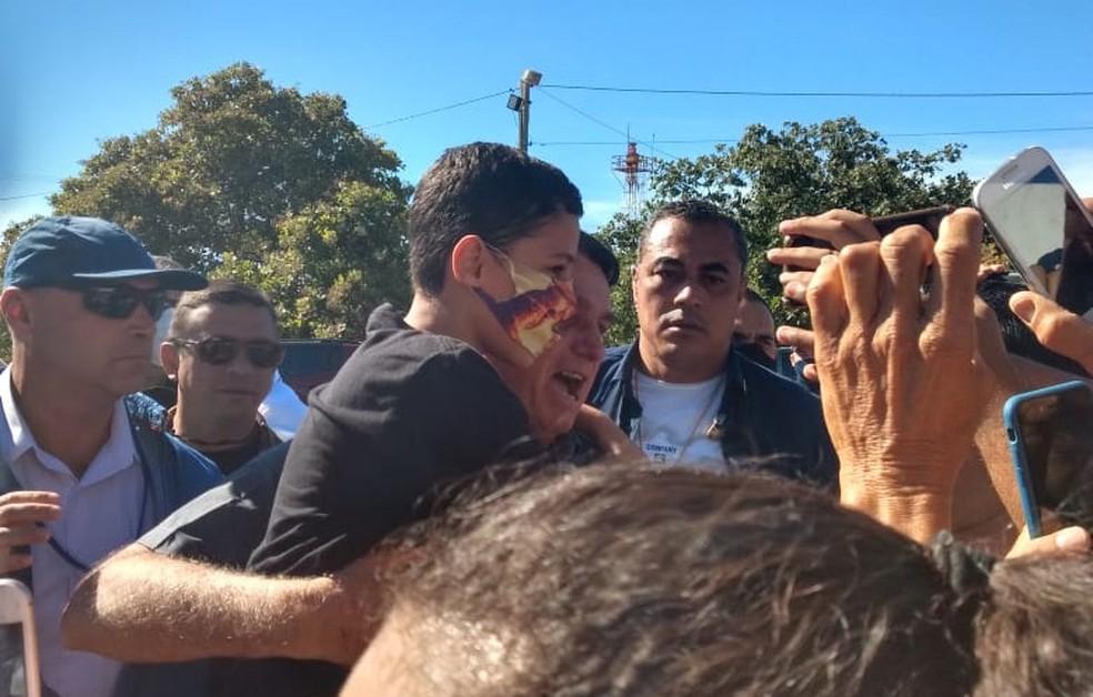 Bolsonaro chega em barreiras, na Bahia — Foto: Carlos Augusto/TV Oeste