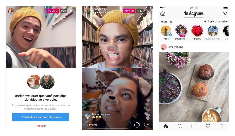Convite e alerta de vídeo ao vivo em dupla no Instagram (Foto: Divulgação/Instagram)