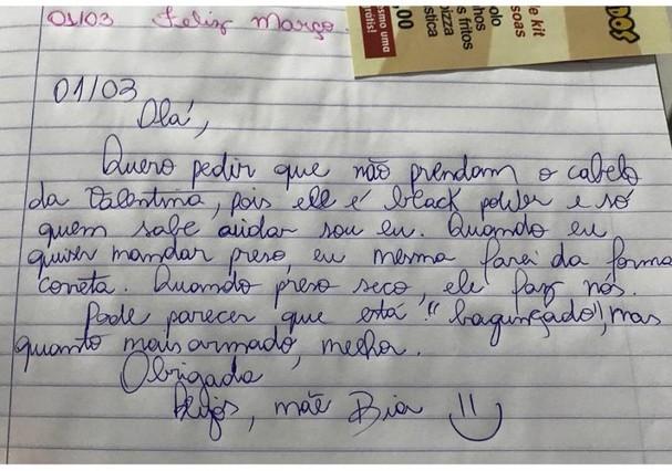 Bia mandou bilhete para a escola (Foto: Reprodução)