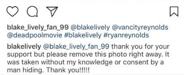 A exigência feita pela atriz Blake Lively para que uma foto de sua filha fosse removida das redes sociais (Foto: Instagram)