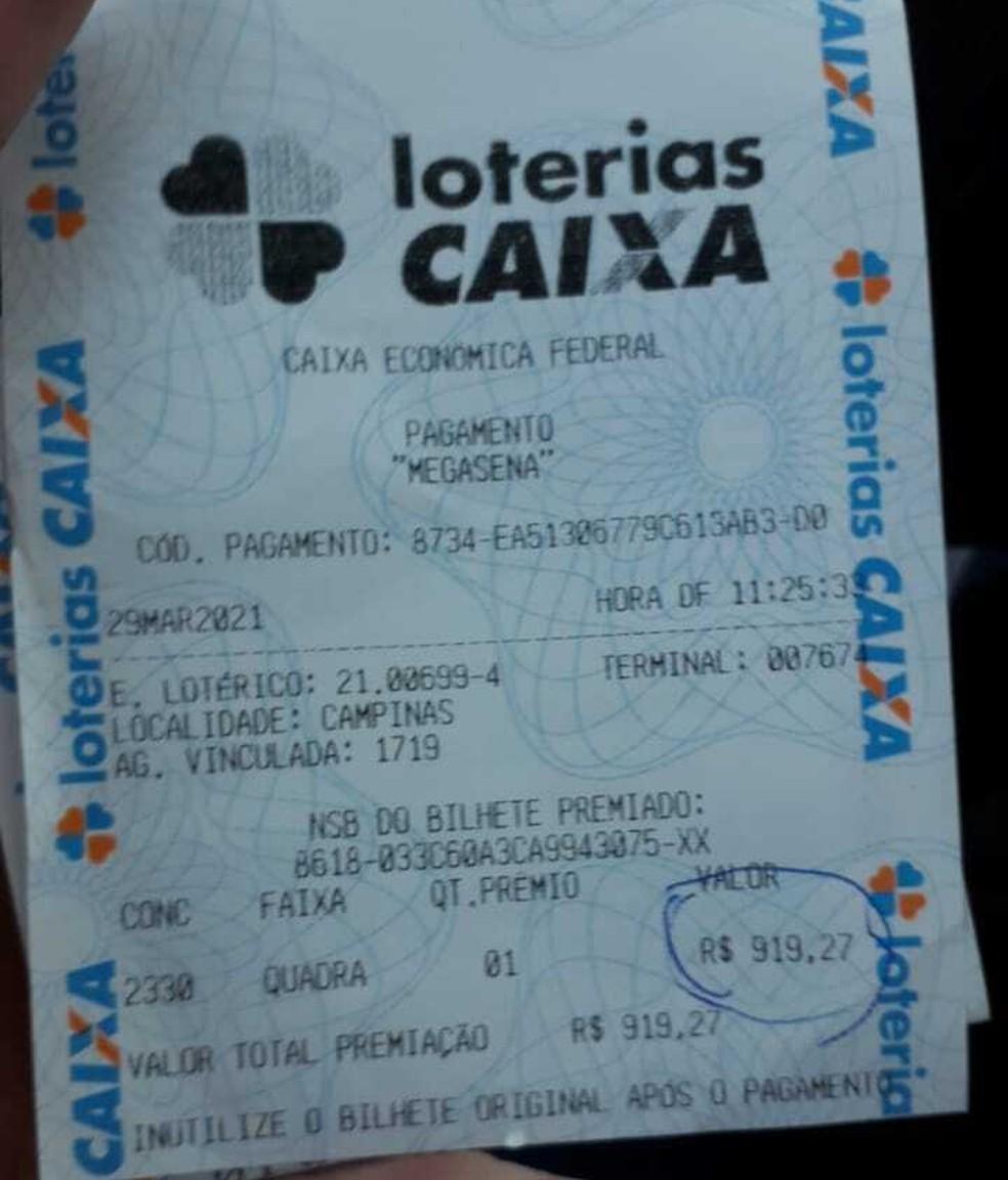 Claudinei guardou o bilhete desde dezembro sem conferir  Foto: Arquivo pessoal