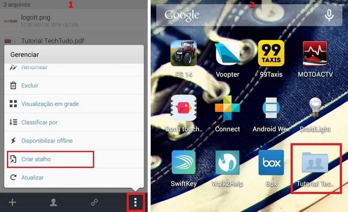 Atalho da tela principal do Android de pasta criada no Box (Foto: Reprodução/Raquel Freire)