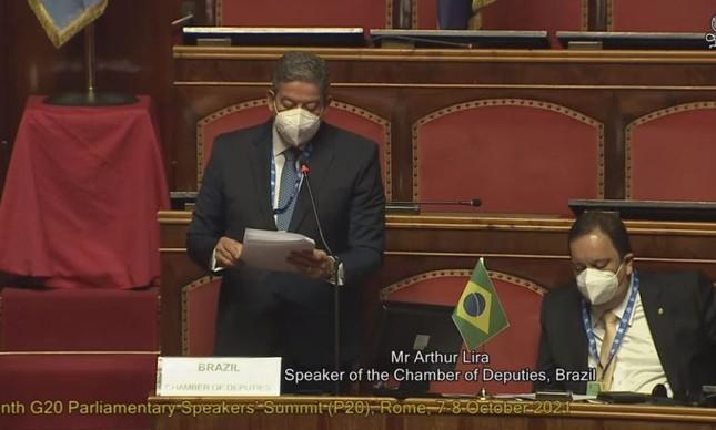 Lira fala em encontro de presidentes de parlamentos na Itália: clima de desconfiança em relação ao Brasil
