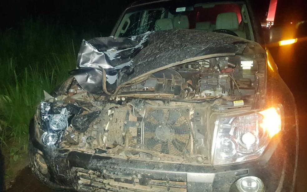 Carro que atingiu ciclista e garupa na BR-153, em Goiás — Foto: PRF/Divulgação