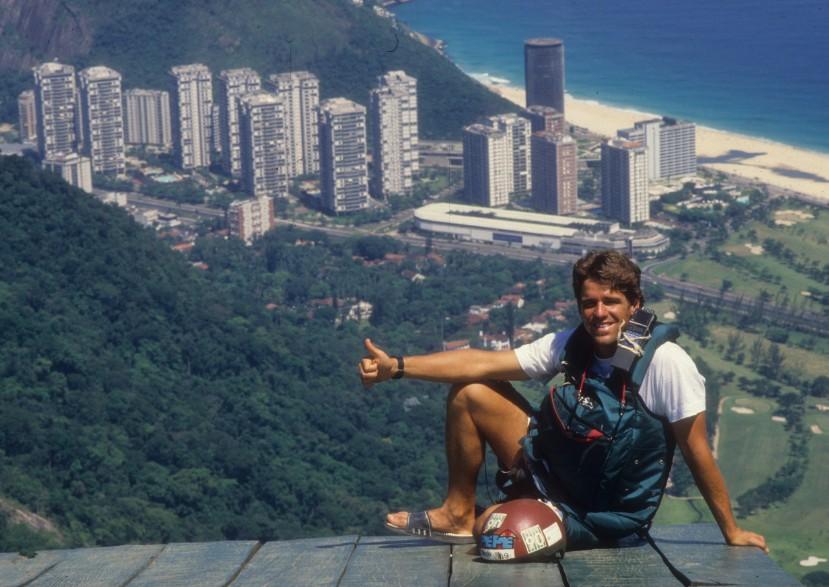 Pepê Lopes na pista da Pedra Bonita, no Rio, em janeiro de 1988