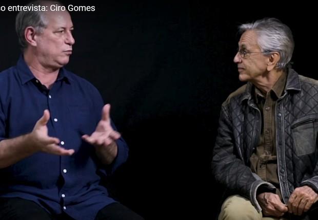 Ciro Gomes em entrevista a Caetano Veloso. O candidato do PDT pediu à Justiça para tirar o vídeo do ar, mas não conseguiu (Foto: Reprodução)