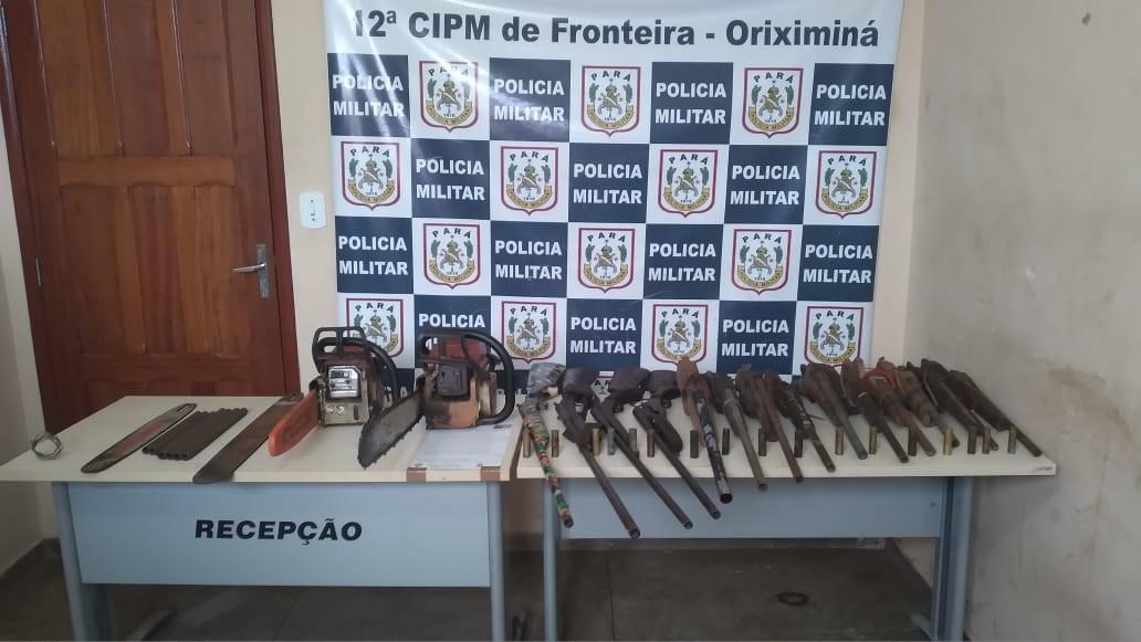 Armas de fogo e motosserras são apreendidas durante ação em comunidade, em Oriximiná