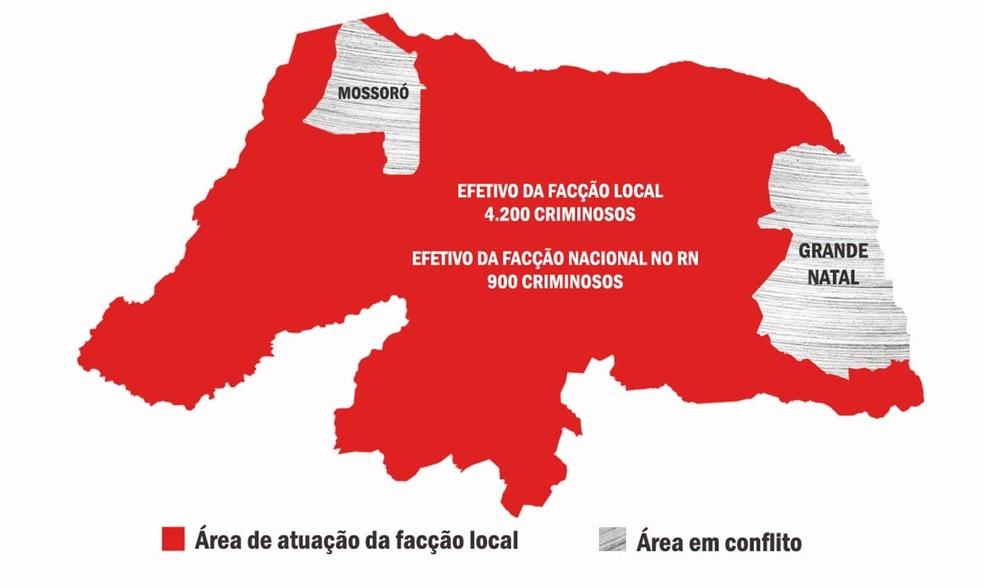 Mapa mostra as áreas de domínio e que estão em disputa pelas facções criminosas que atuam no RN (Foto: Foseg-RN)