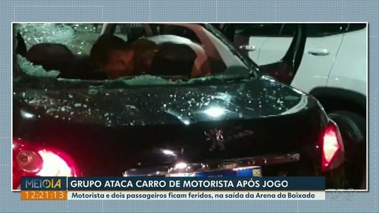 Motorista de aplicativo e passageiros ficam feridos durante briga de torcedores