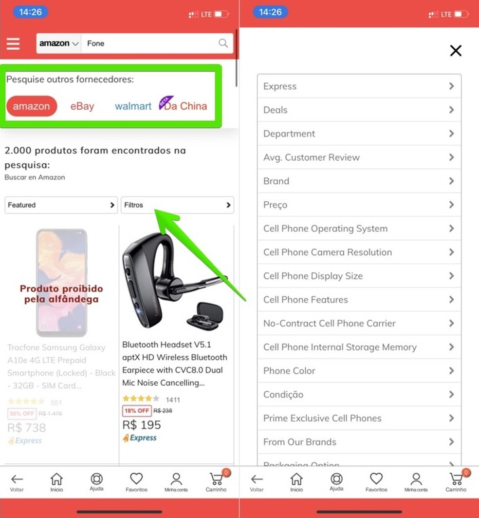 O app Tiendamia permite buscar produtos direto de fornecedores, como Amazon e eBay — Foto: Reprodução/Helito Beggiora