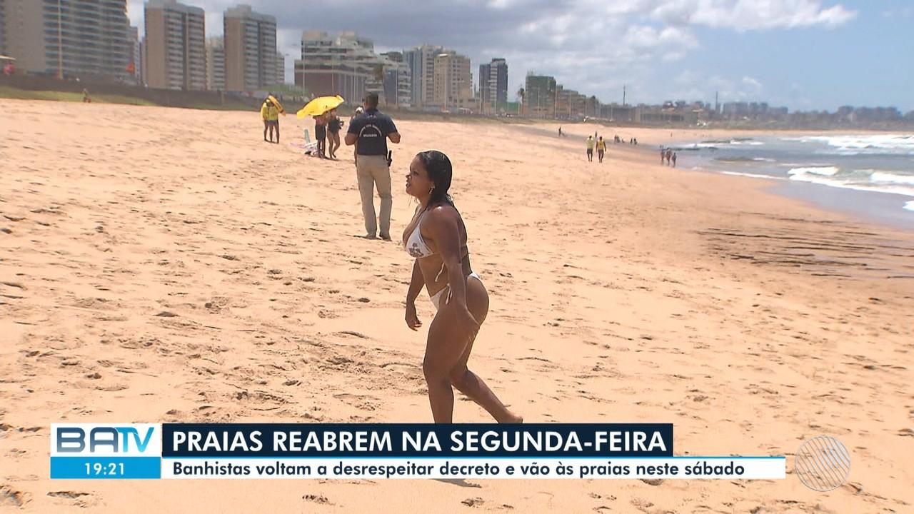 Praias de Salvador têm movimento intenso no sábado, mesmo com interdição
