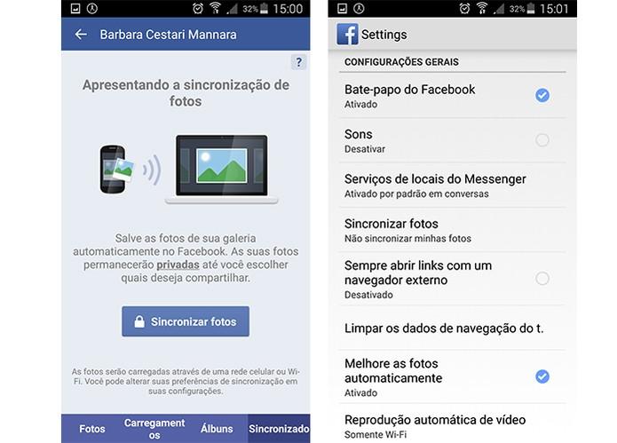 Usuários do Facebook também podem sincronizar suas fotos em diferentes dispositivos (Foto: Reprodução/Barbara Mannara)