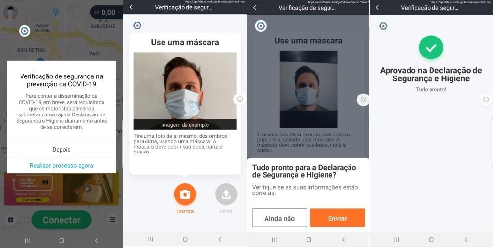 99 implementa tecnologia de reconhecimento para verificar se motoristas estão usando máscara