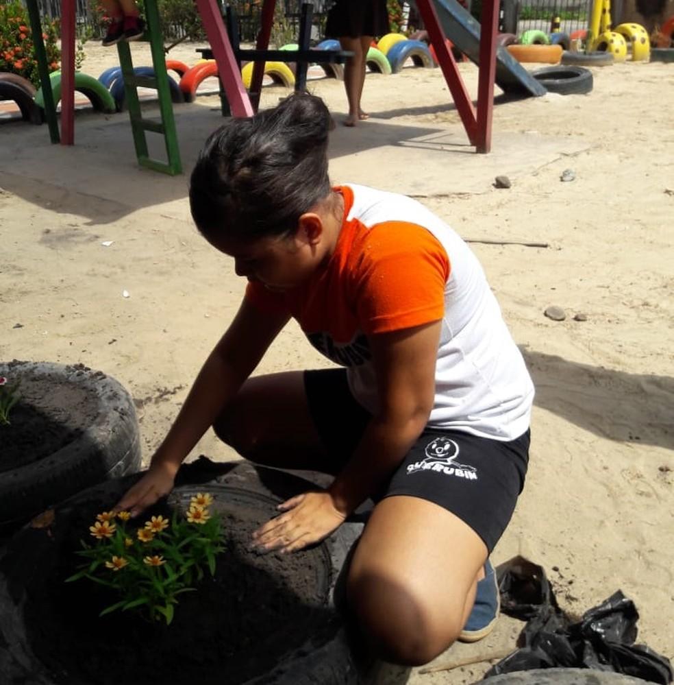 Na escola, alunos aprendem a transformar pneus velhos em belos recipientes de plantas  (Foto: Dilma Guerreiro )