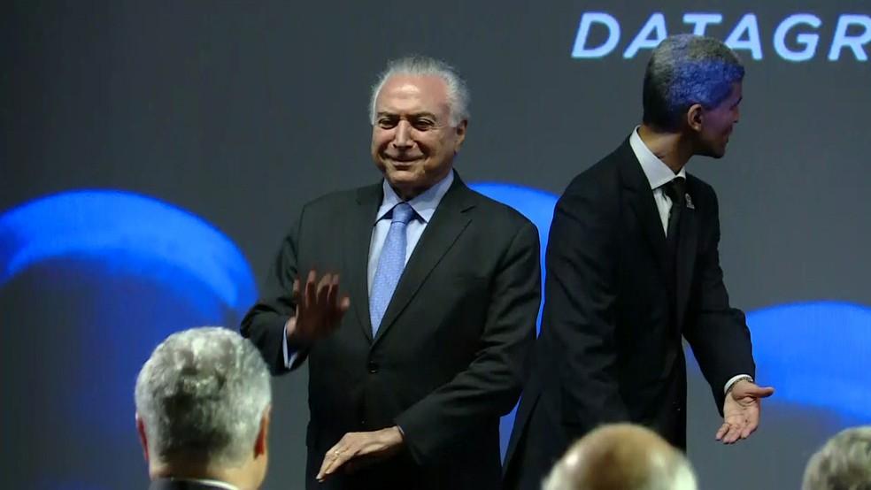 O presidente Michel Temer participa em São Paulo da 18ª Conferência Internacional Datagro — Foto: Reprodução/TV Globo