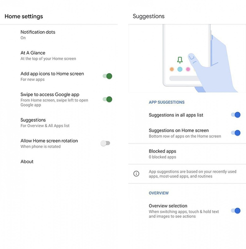Android 11 Beta permite que usuários controlem as sugestões de aplicativos no Pixel Launcher — Foto: Reprodução/XDA-Developers