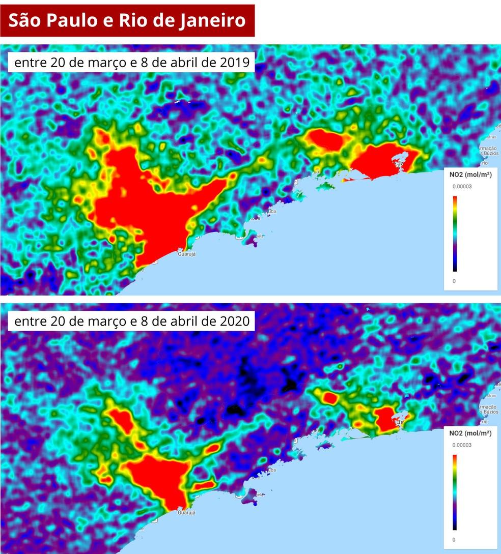 Imagem feita a partir de informações de concentração de poluente na atmosfera — Foto: Diego Hemkemeier Silva/Divulgação/Via G1