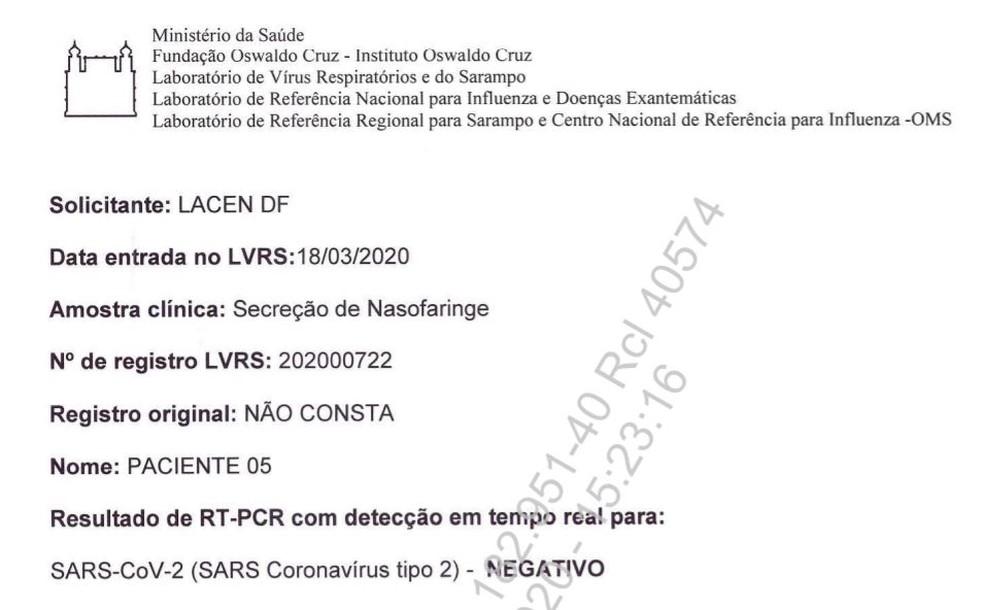 Terceiro exame entregue ao Supremo Tribunal Federal, em processo sobre testagem de Jair Bolsonaro — Foto: STF/Reprodução
