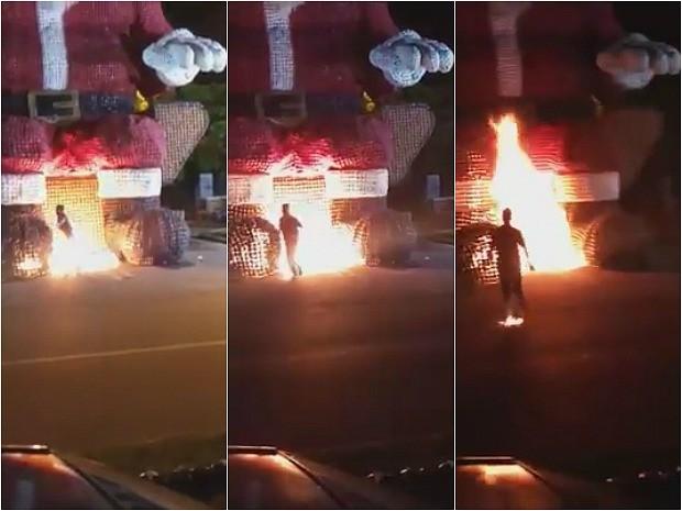 Irmãos atearam fogo em Papai Noel gigante de garrafas pet em Ji-Paraná e filmaram todo o ocorrido. O vídeo da ação tem circulado pelas redes sociais (Foto: Reprodução/Facebook)
