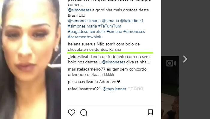 Comentário no vídeo com Simone (Foto: Reprodução/Instagram)