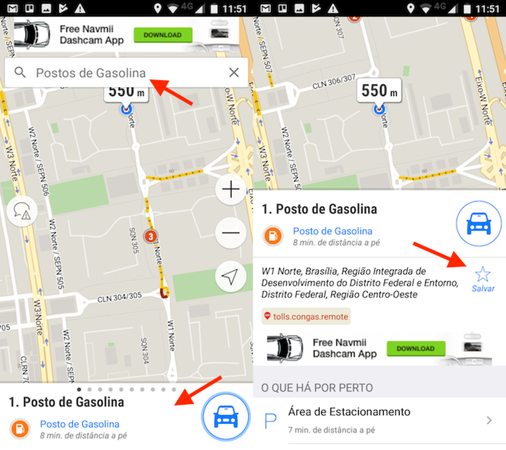 Opção para marcar locais favoritos no Navmii GPS (Foto: Reprodução/Marvin Costa)