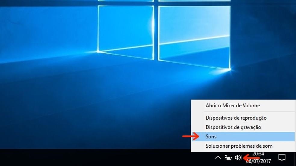 Caminho para configurações de som do Windows (Foto: Reprodução/Raquel Freire)