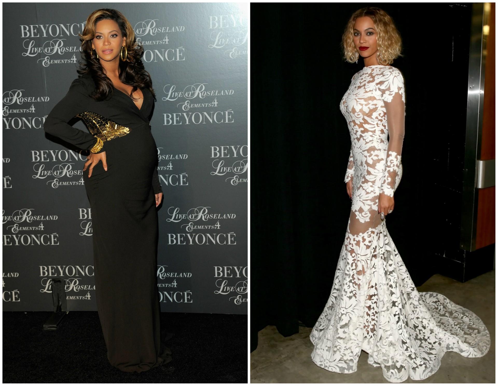 Beyoncé em novembro de 2011 (à esq.) e em janeiro de 2014. A filha da cantora se chama Blue Ivy e nasceu em janeiro de 2012. (Foto: Getty Images)