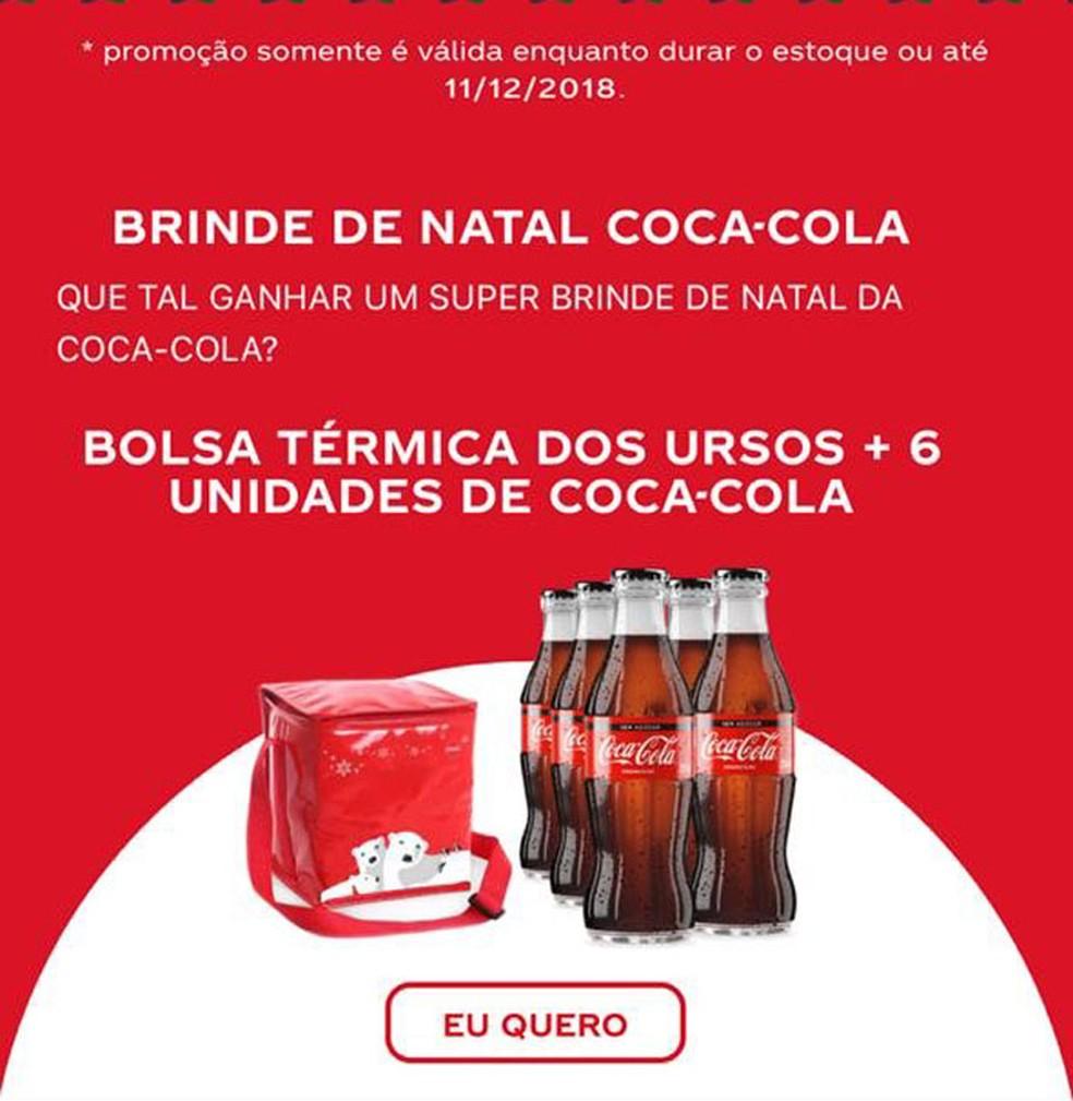 Imagem do golpe da promoção falsa da Coca-Cola enviada pelo leitor.  — Foto: Reprodução