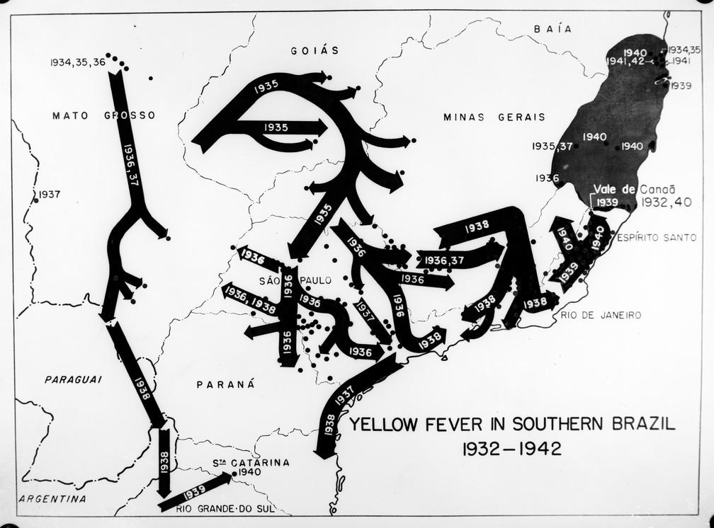 Mapa demonstrando a disseminação da febre amarela no sul do Brasil entre 1932 e 1942 (Foto: Acervo Casa de Oswaldo Cruz/Fiocruz)