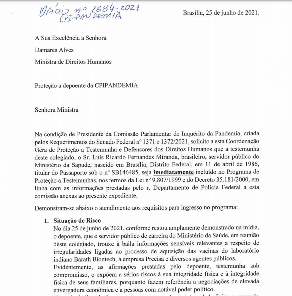 Trecho de documento em que a CPI pede inclusão de denunciante em programa de proteção a testemunhas — Foto: Reprodução