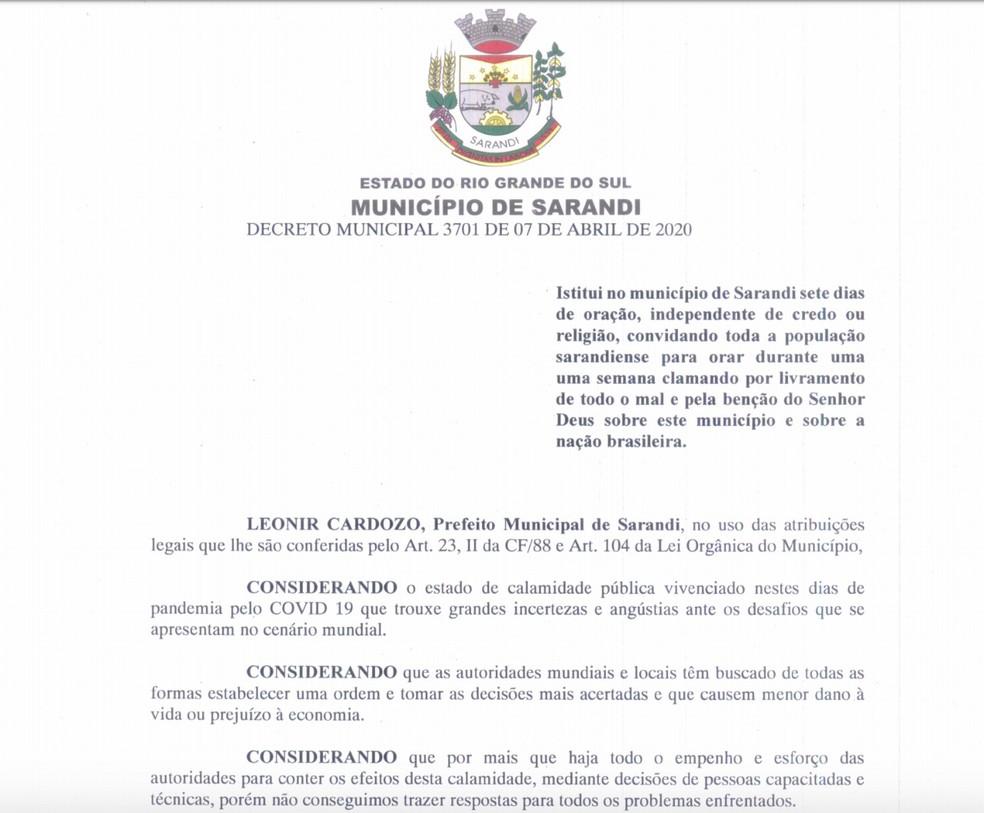 Decreto da Prefeitura de Sarandi determina sete dias de oração devido ao coronavírus — Foto: Reprodução