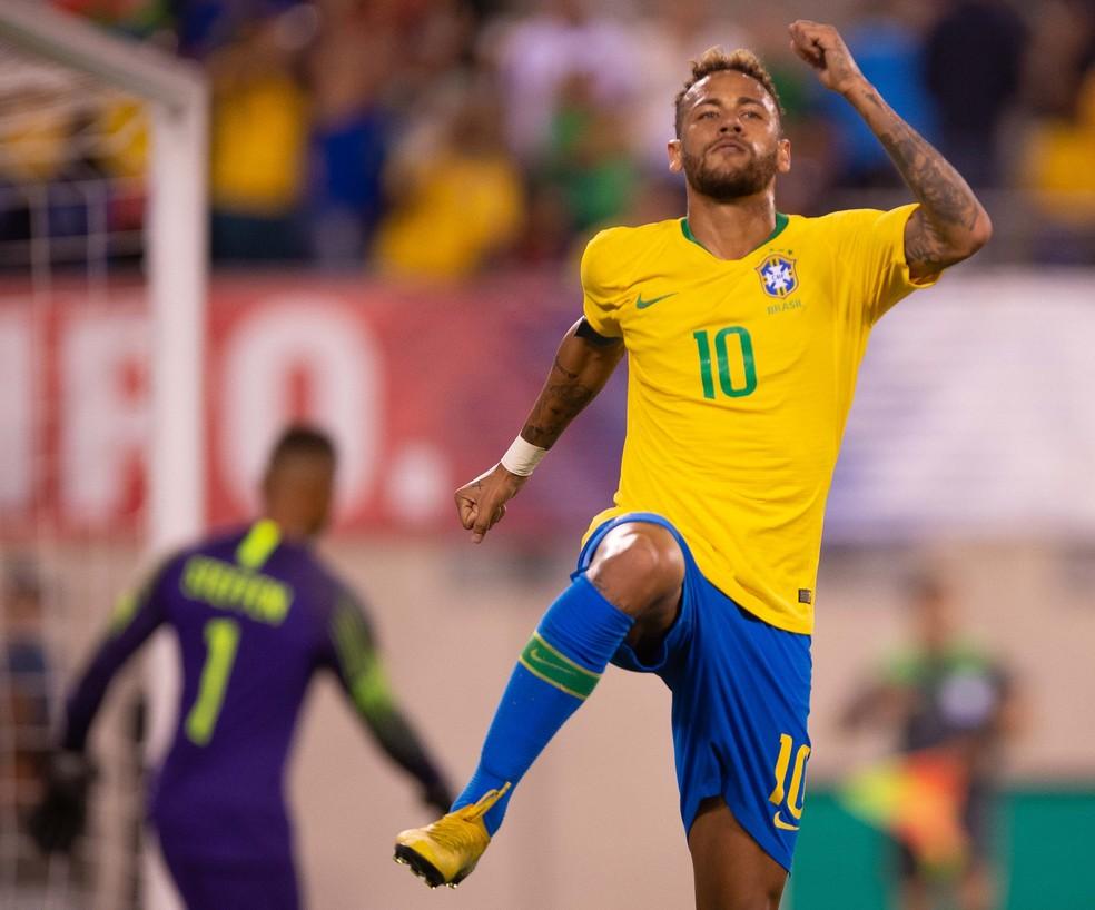 Neymar comemora o gol contra os Estados Unidos, o seu 58º em 91 jogos pela Seleção (Foto: Pedro Martins / MoWA Press)