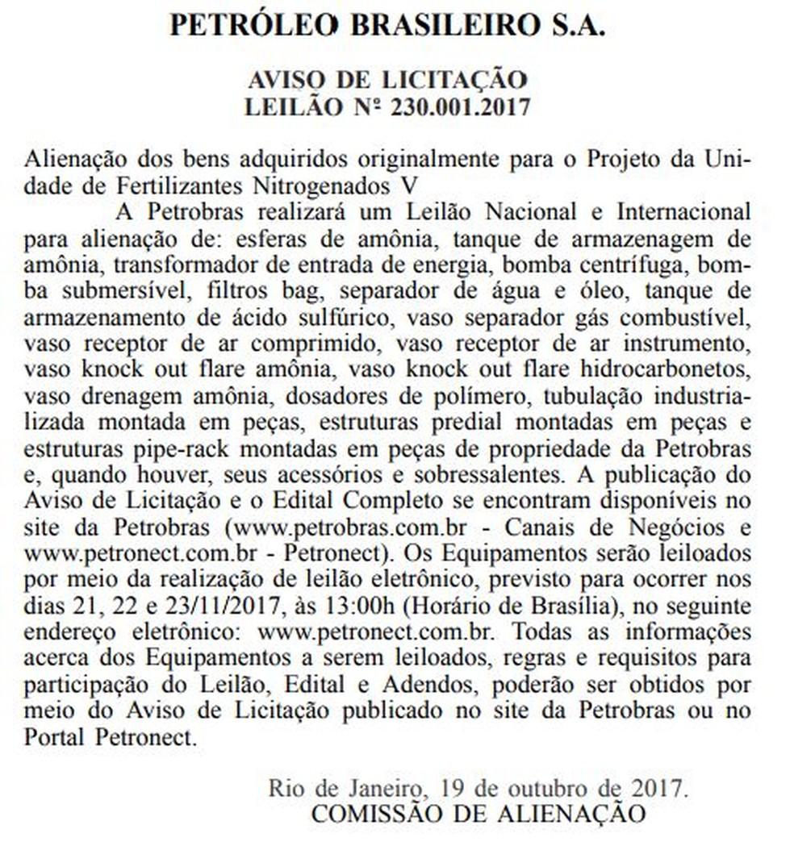 Aviso de leilão de equipamentos da Planta de Amônia foi divulgado na última semana  (Foto: Reprodução/Diário Oficial da União)
