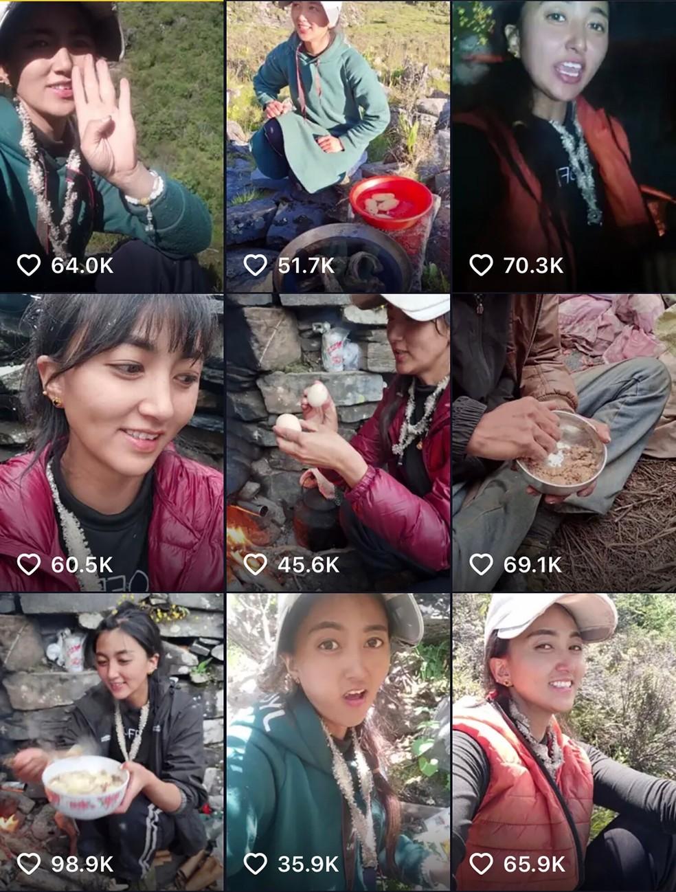 Montagem mostra o perfil de Amuchu na plataforma de vídeos chinesa — Foto: Reprodução/Redes Sociais