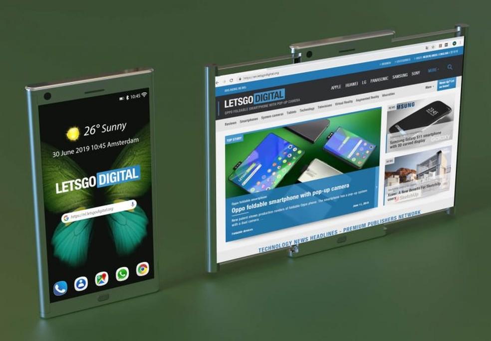 Patente da Samsung revela celular com tela flexível expandida — Foto: Reprodução/LetsGoDigital